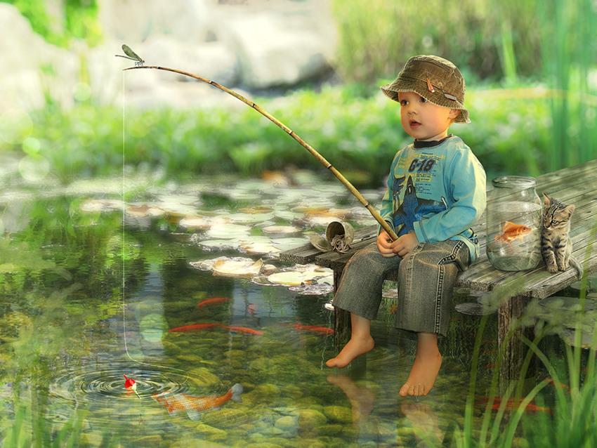 Стихи открытках, открытка с детьми рыбаку